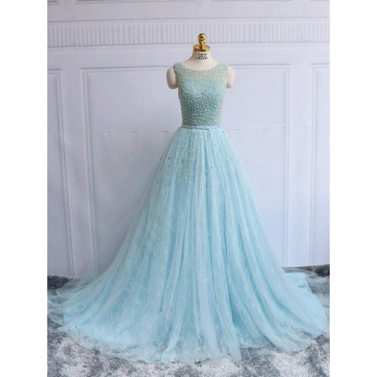 baby blue evening dress photo - 1