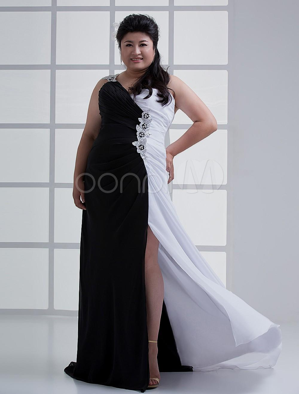 black and white evening dresses plus size photo - 1