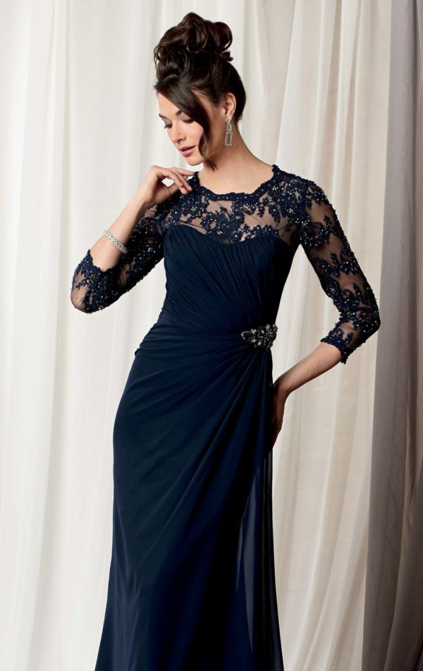 black evening dress with sleeves photo - 1
