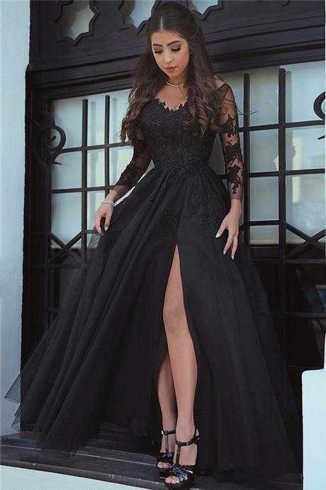 black long sleeve evening dress photo - 1