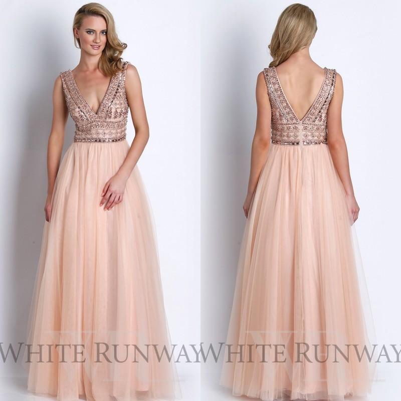blush pink evening dress photo - 1