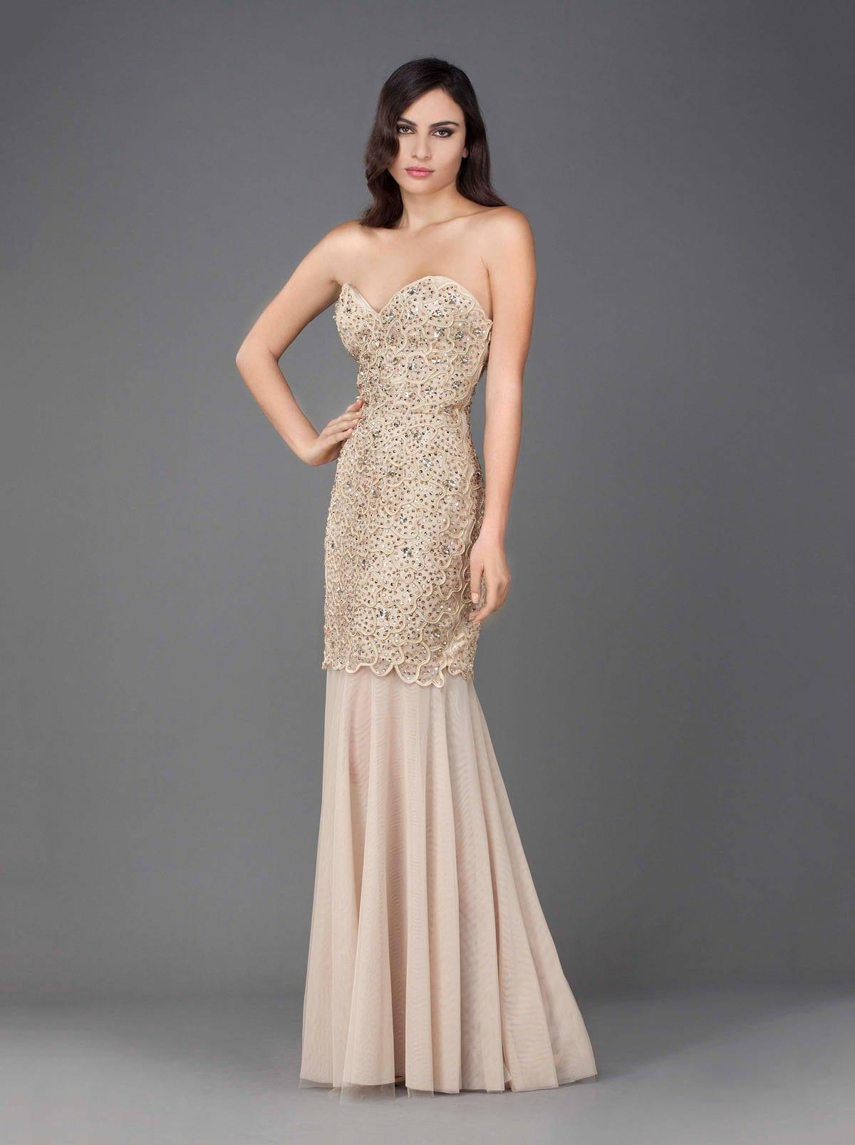 champagne colored evening dresses photo - 1