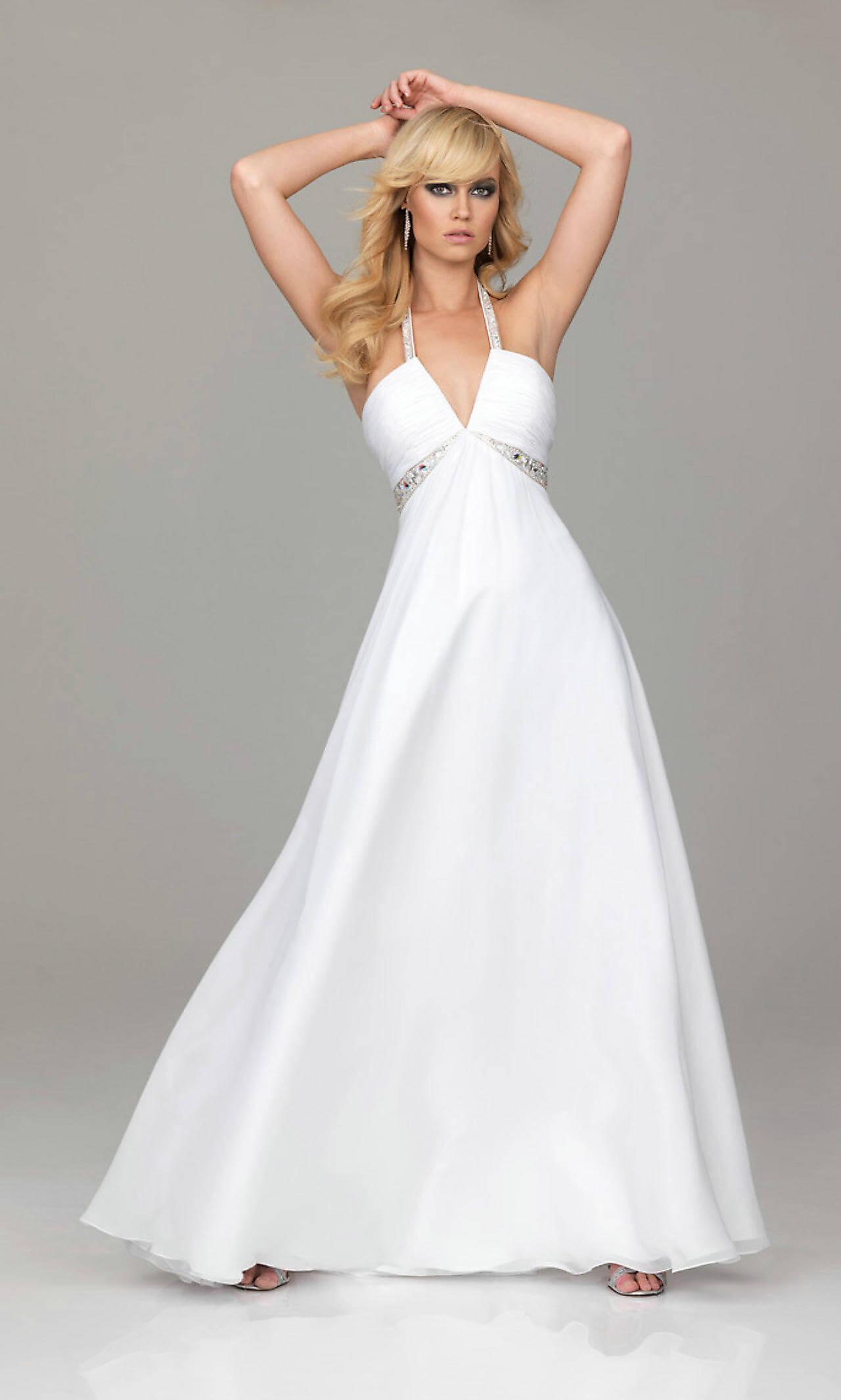 cheap white evening dresses photo - 1