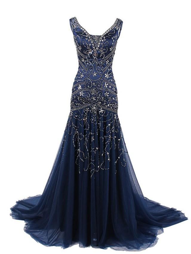 dark blue evening dress photo - 1