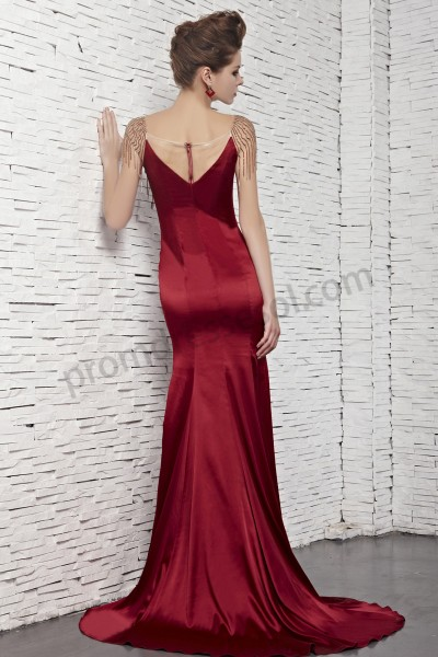 dark red evening dress photo - 1