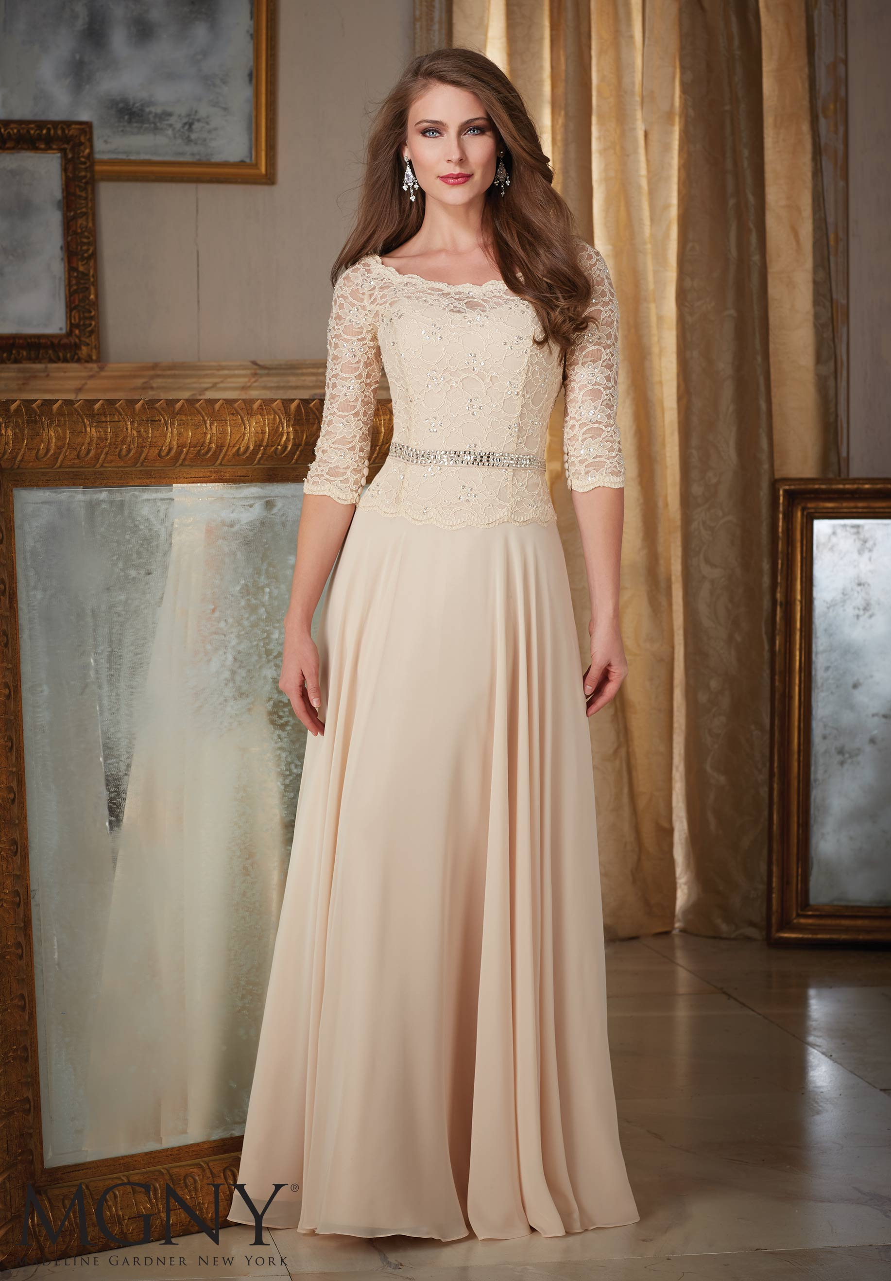 elegant long dresses for mother of the bride photo - 1