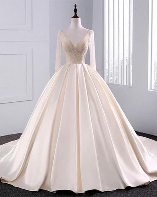 elegant long sleeve wedding dresses photo - 1