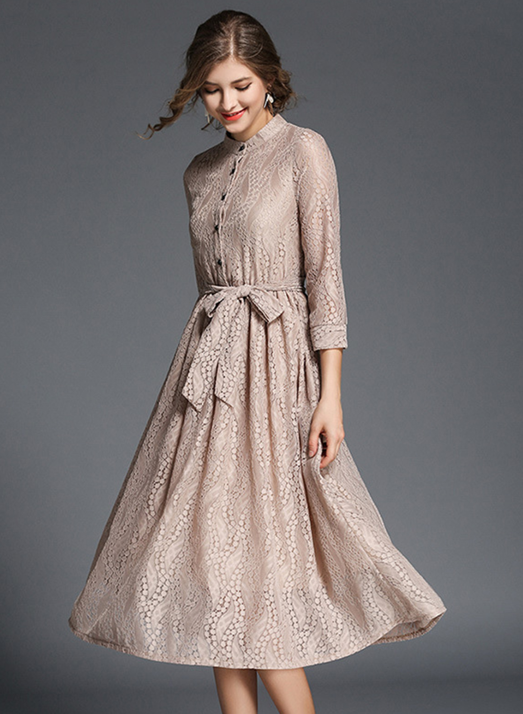 elegant midi dresses with sleeves photo - 1