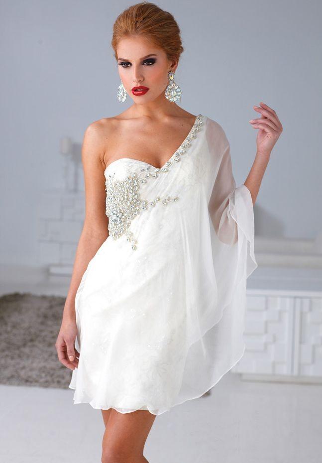 elegant short white dresses photo - 1