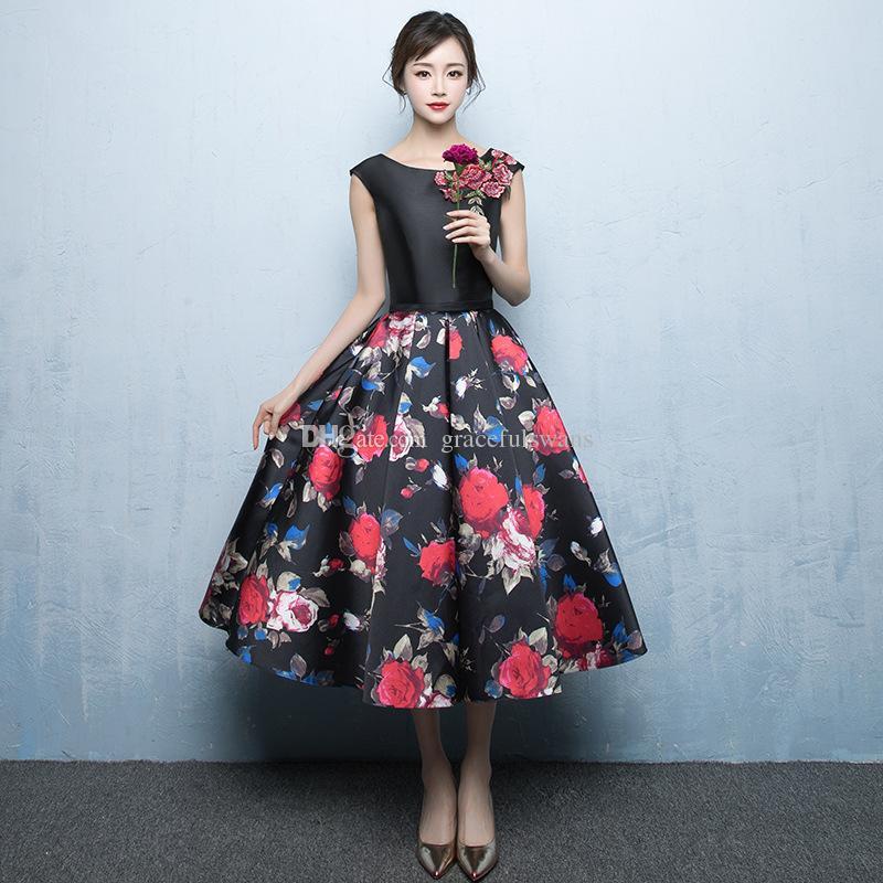 elegant tea length dresses photo - 1