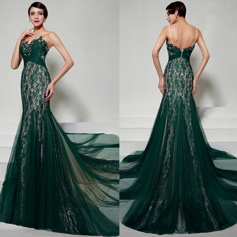 emerald green evening dresses photo - 1