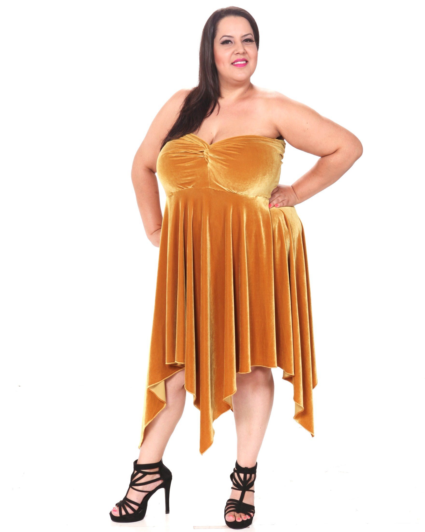 gold evening dresses plus size photo - 1