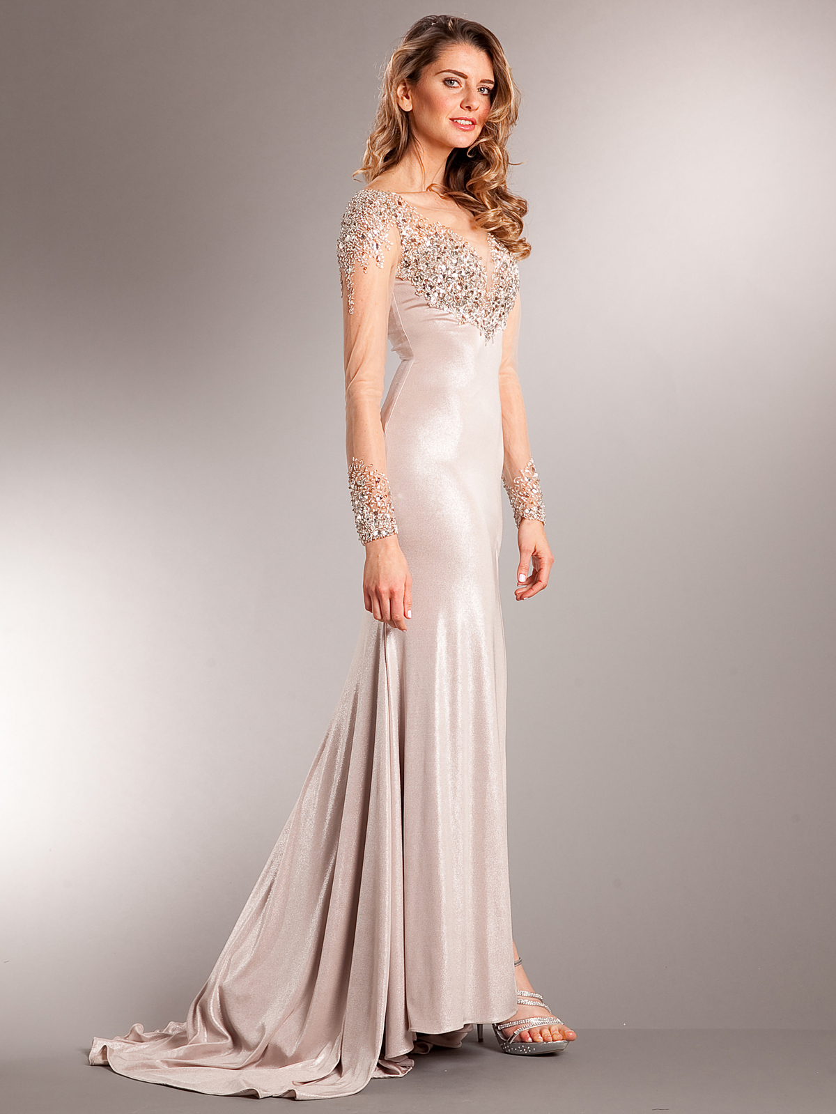 gold evening dresses with sleeves photo - 1