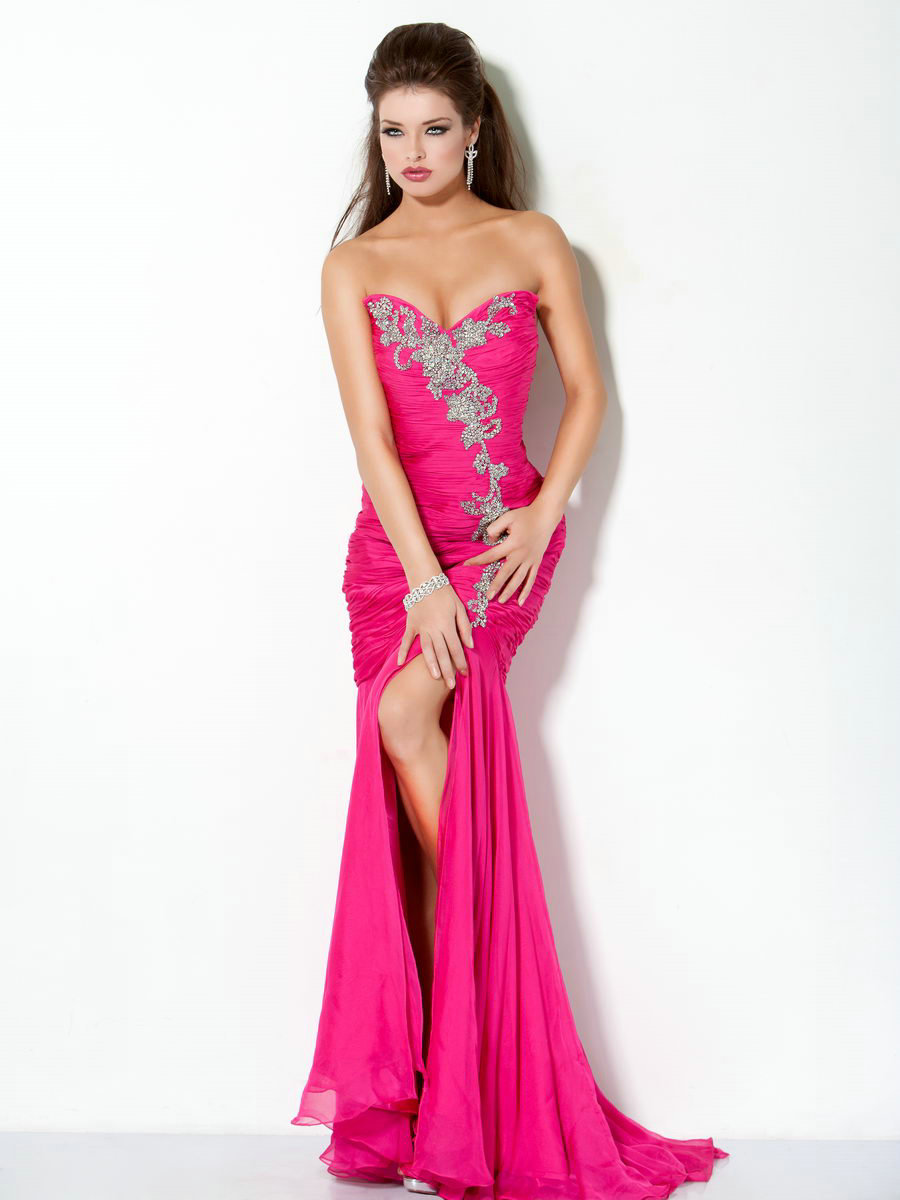 hot pink evening dresses photo - 1
