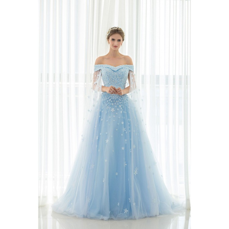 light blue evening dress photo - 1