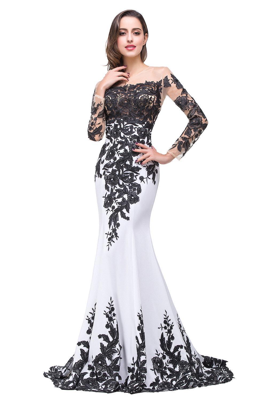 long sleeve evening dresses cheap photo - 1