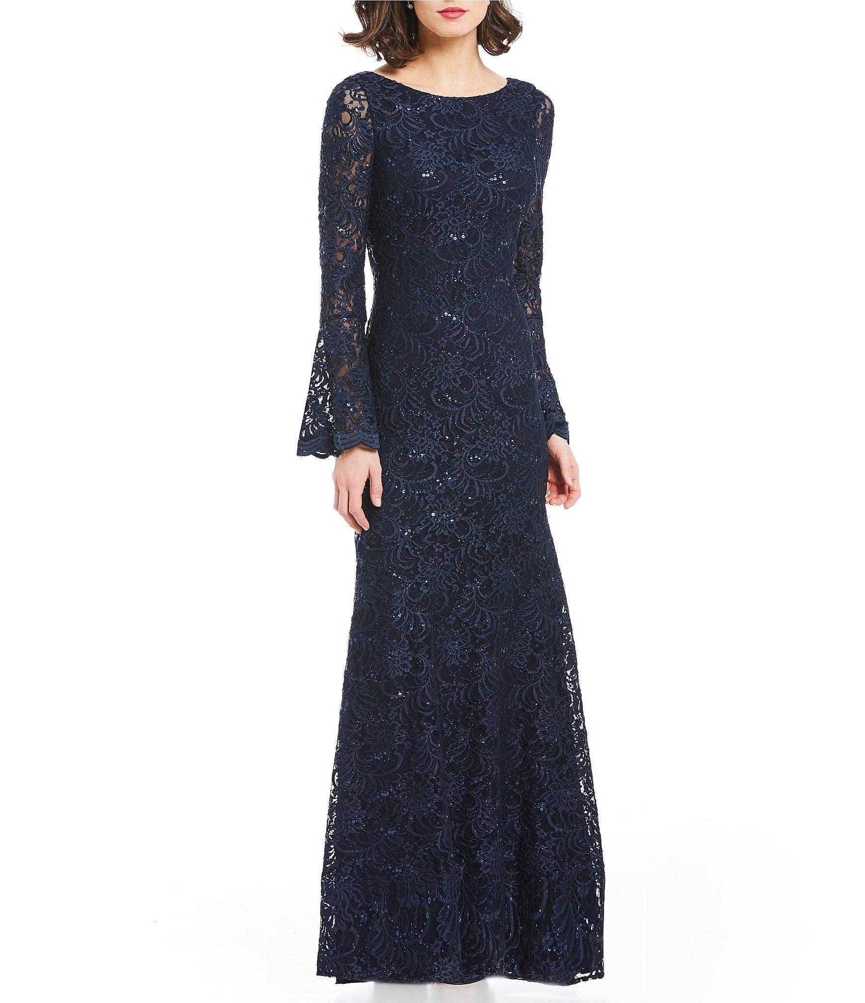 long sleeve lace evening dress photo - 1