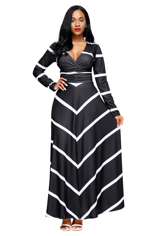 long sleeve maxi evening dress photo - 1