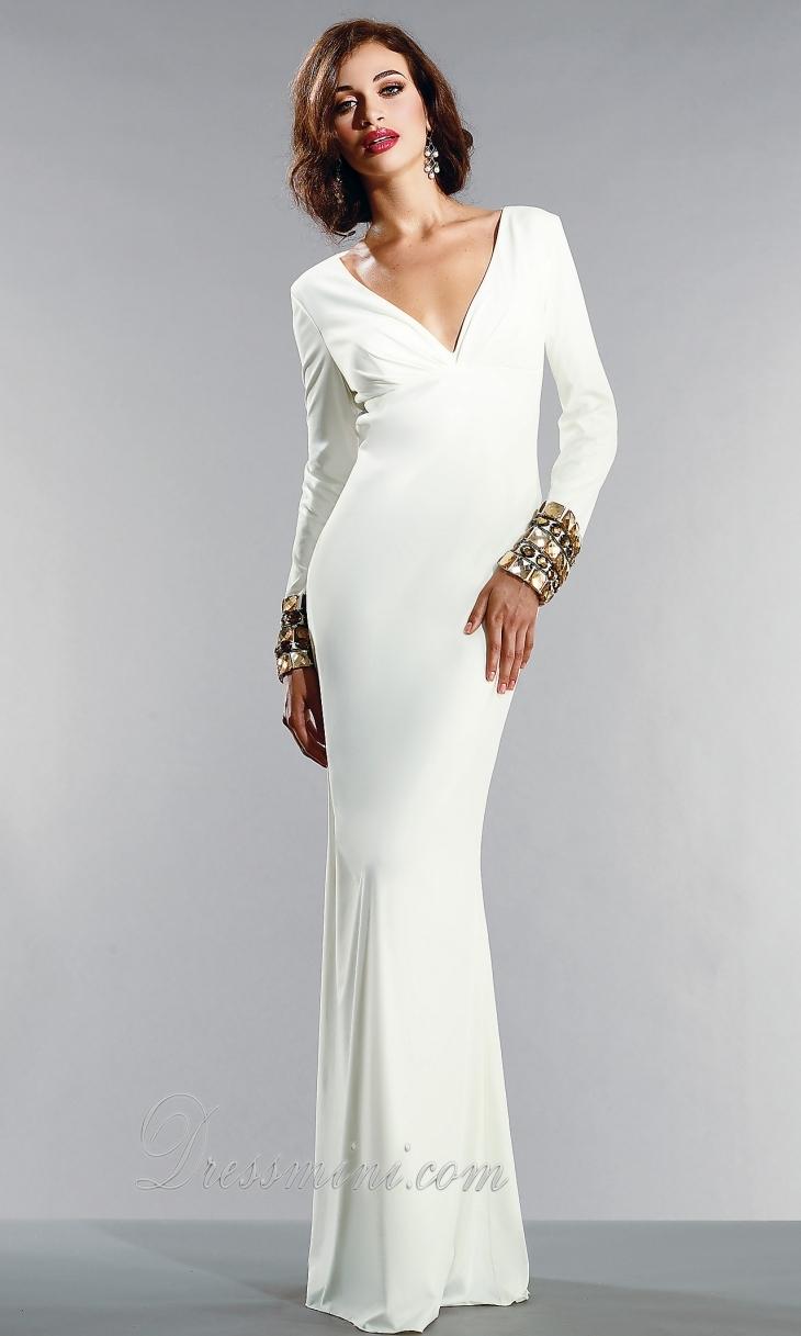 long white evening dress photo - 1