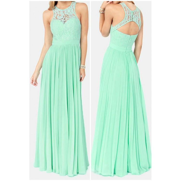 mint green evening dress photo - 1