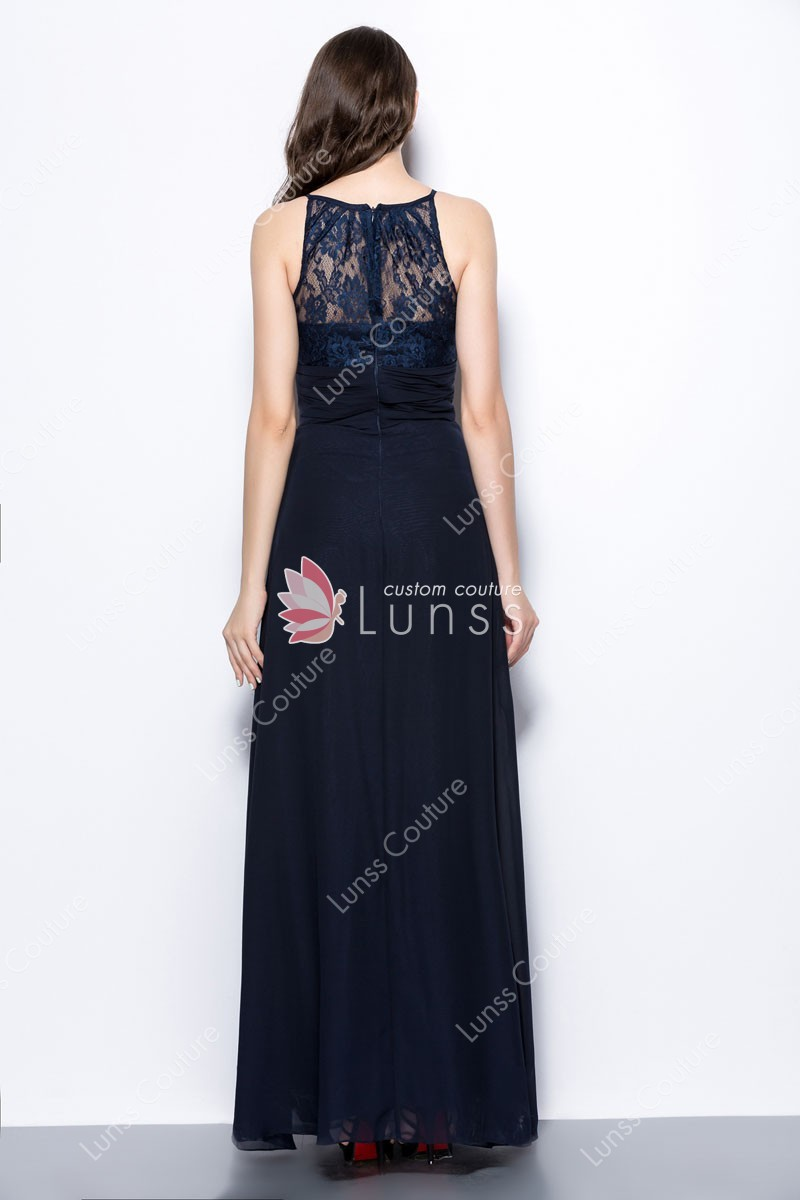navy blue long evening dresses photo - 1