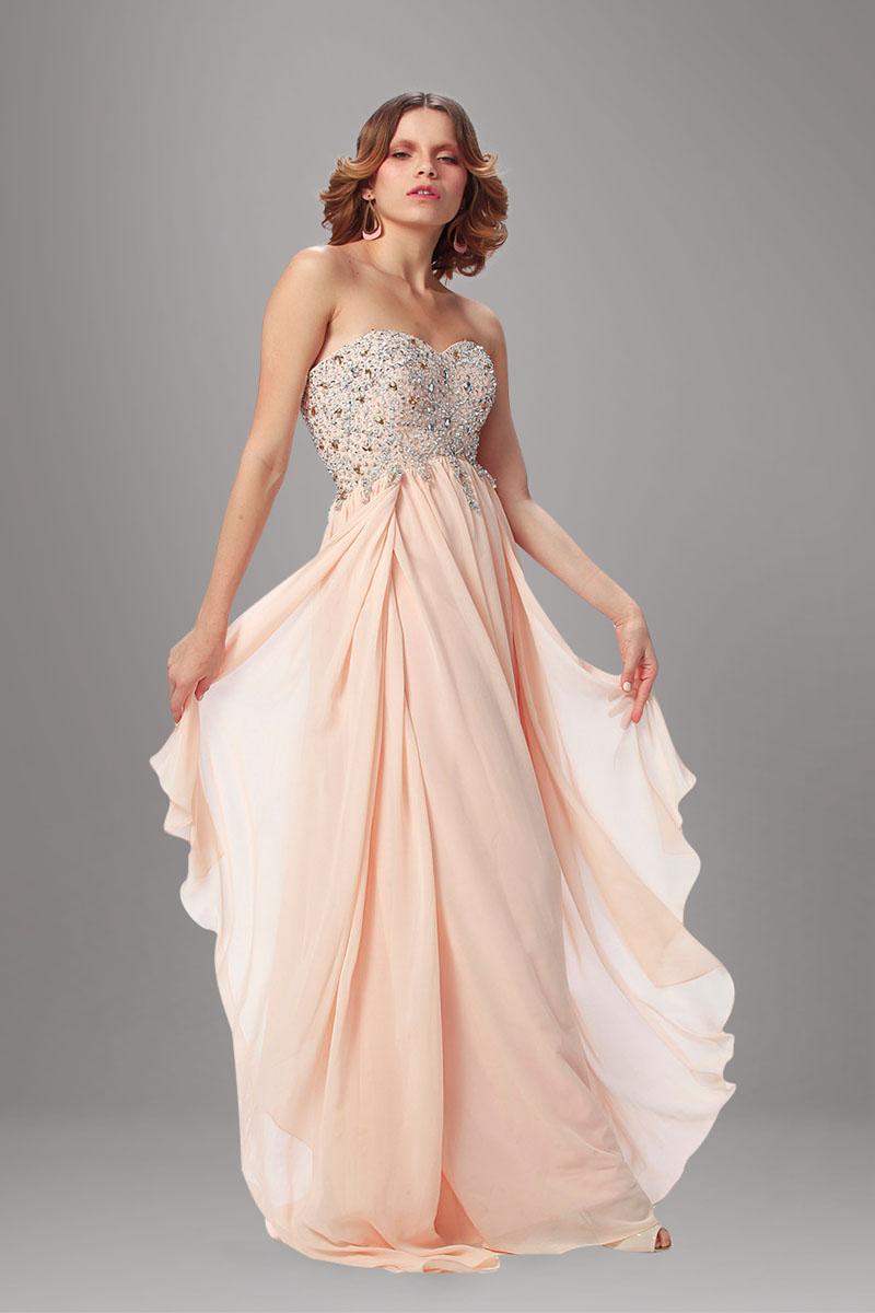 peach evening dresses photo - 1