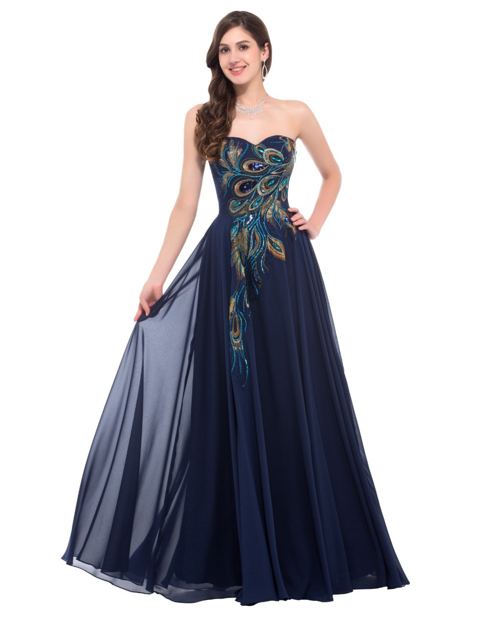 peacock evening dresses photo - 1