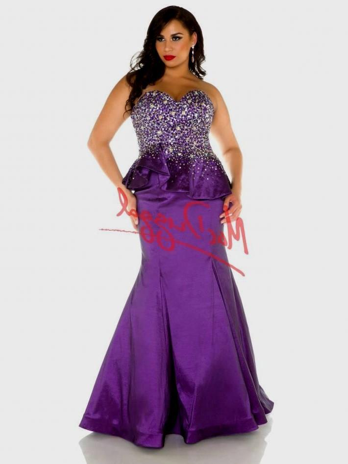 purple evening dresses plus size photo - 1