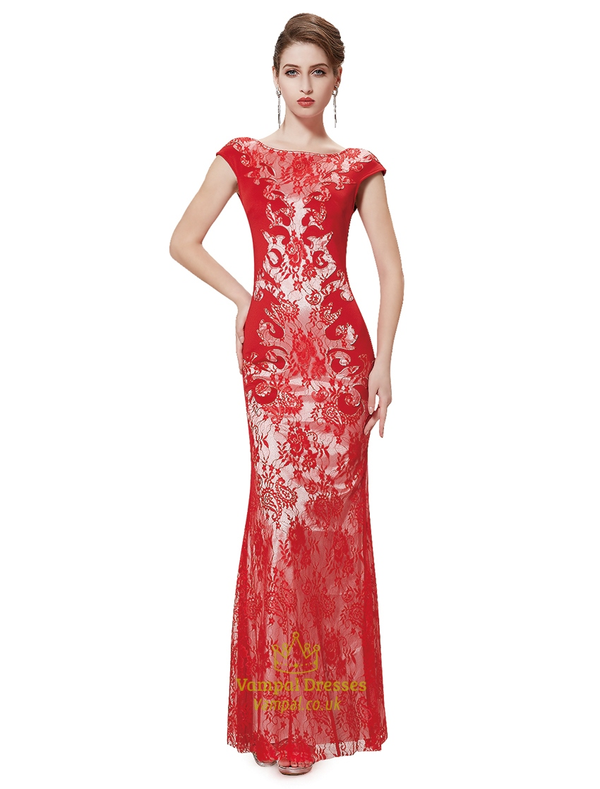 red lace evening dresses photo - 1