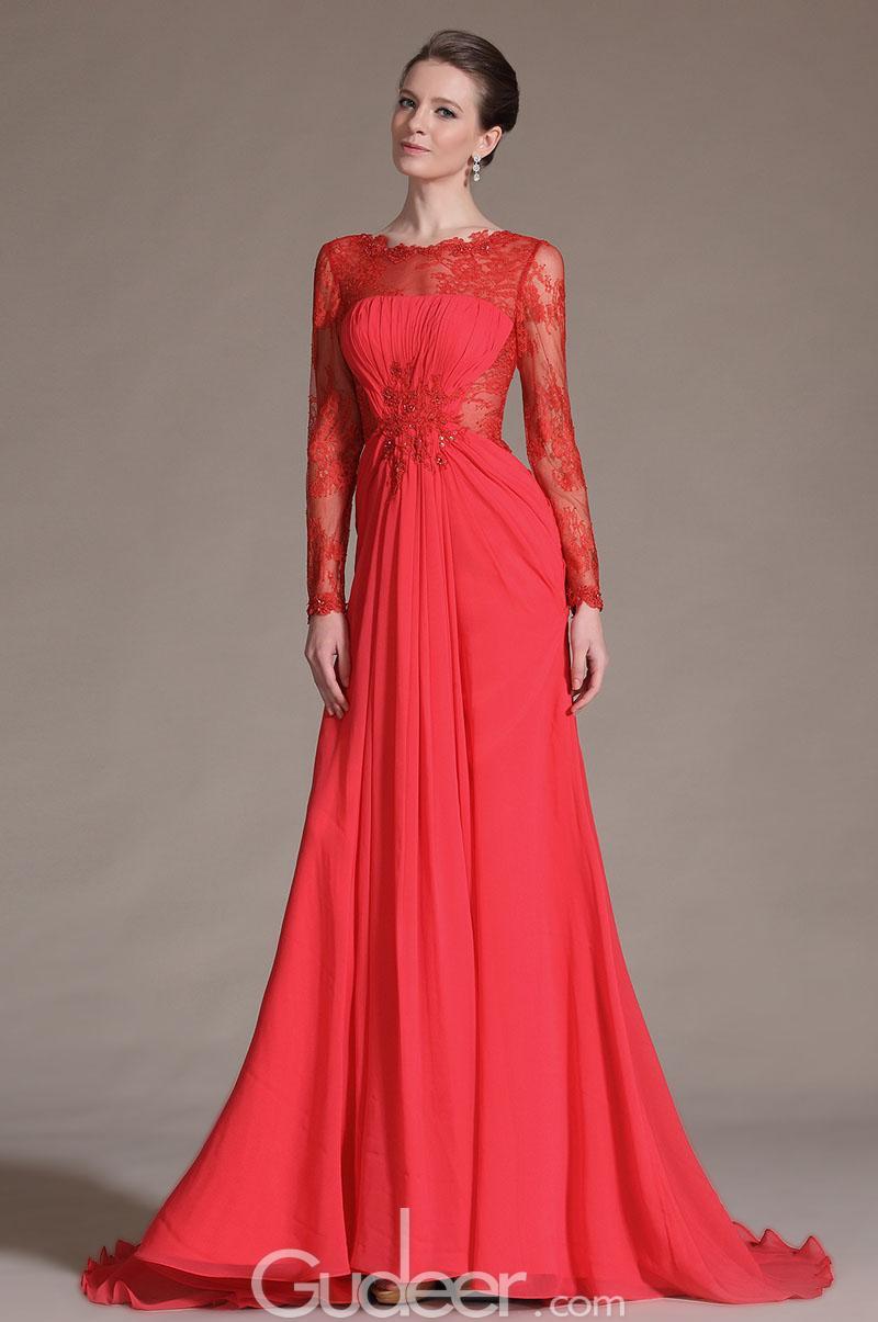 red long sleeve evening dress photo - 1