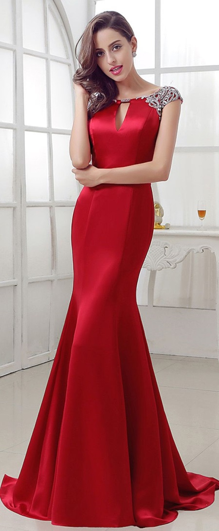 red mermaid evening dress photo - 1