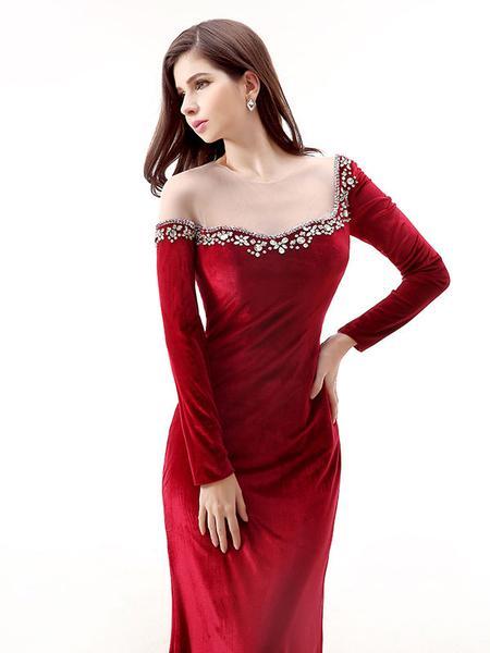 red short evening dress photo - 1