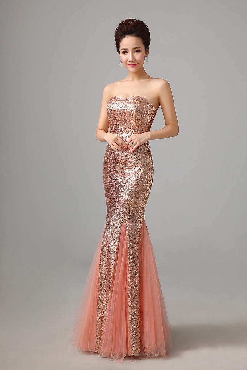 rose gold evening dresses photo - 1