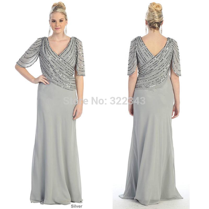 silver evening dresses plus size photo - 1