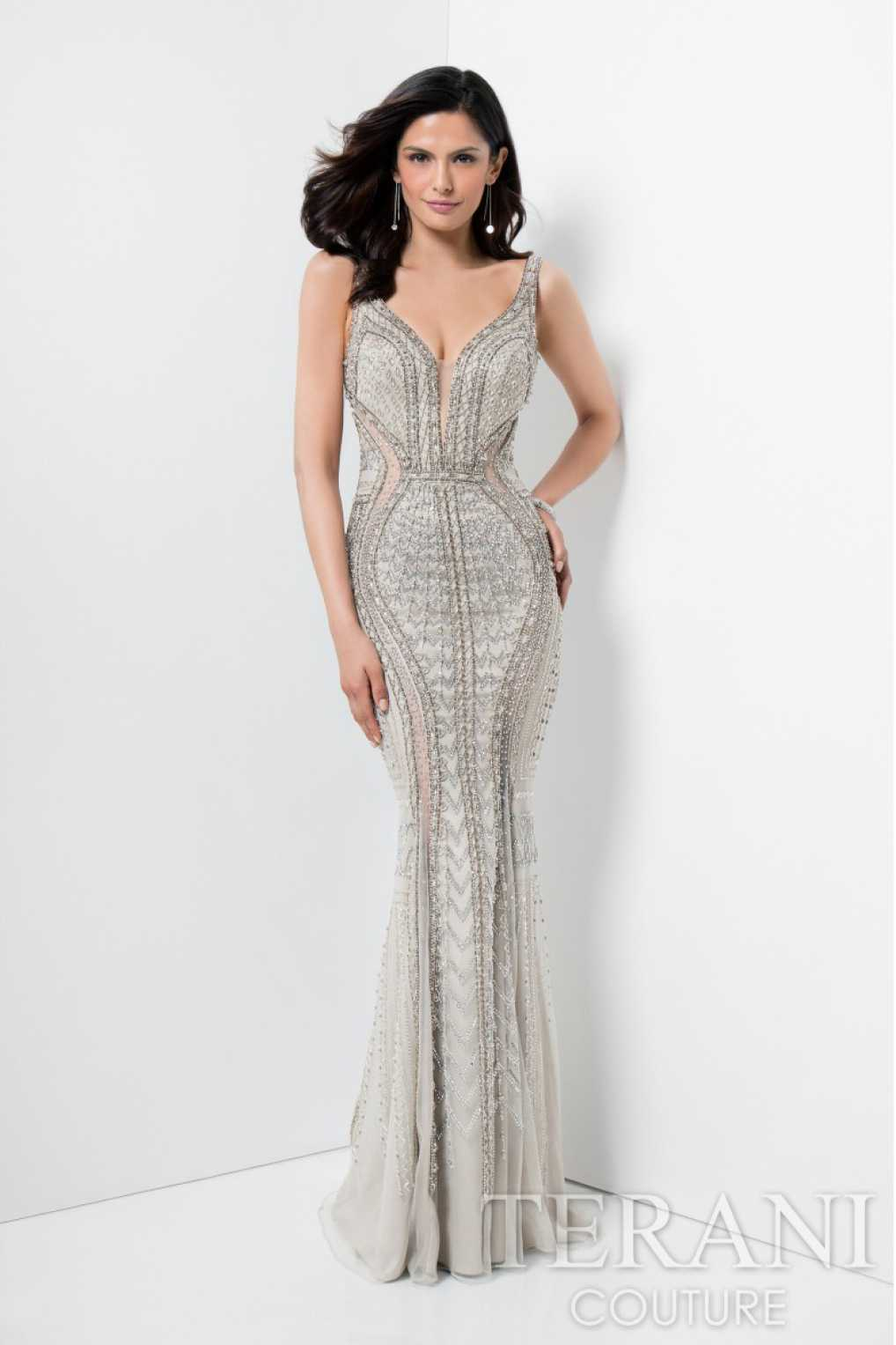 taupe evening dress photo - 1