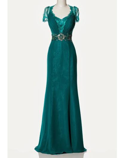teal evening dress photo - 1