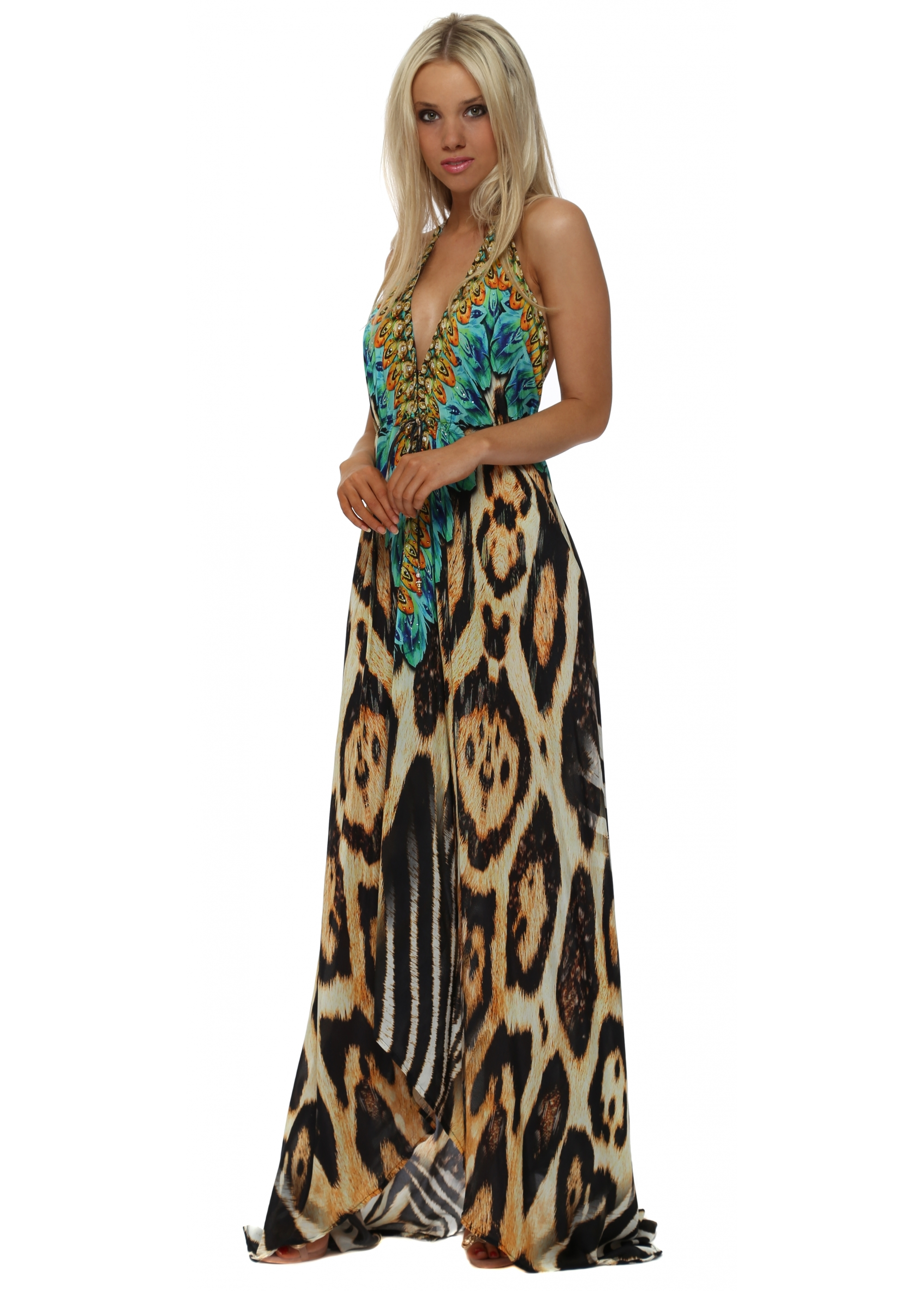 turquoise evening dress photo - 1