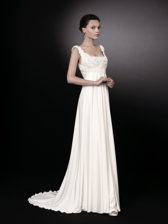 white evening dresses with sleeves photo - 1