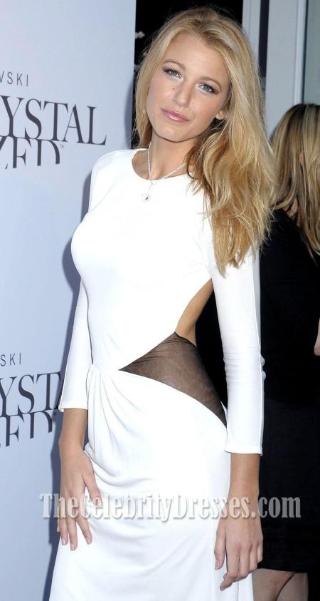 white long sleeve evening dress photo - 1