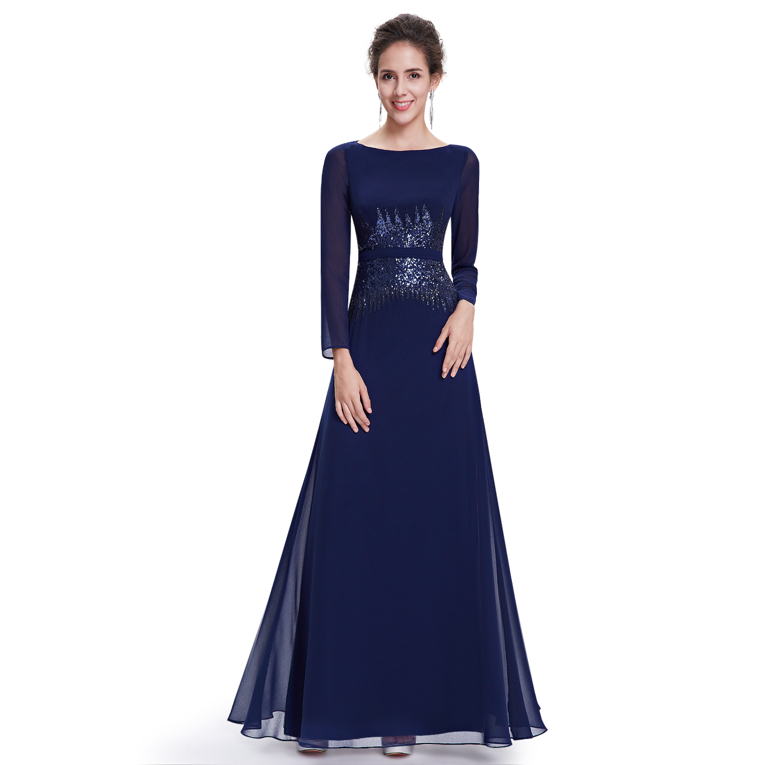 womens evening dresses with sleeves photo - 1