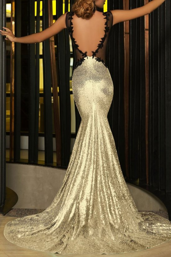 black and gold evening dress photo - 1