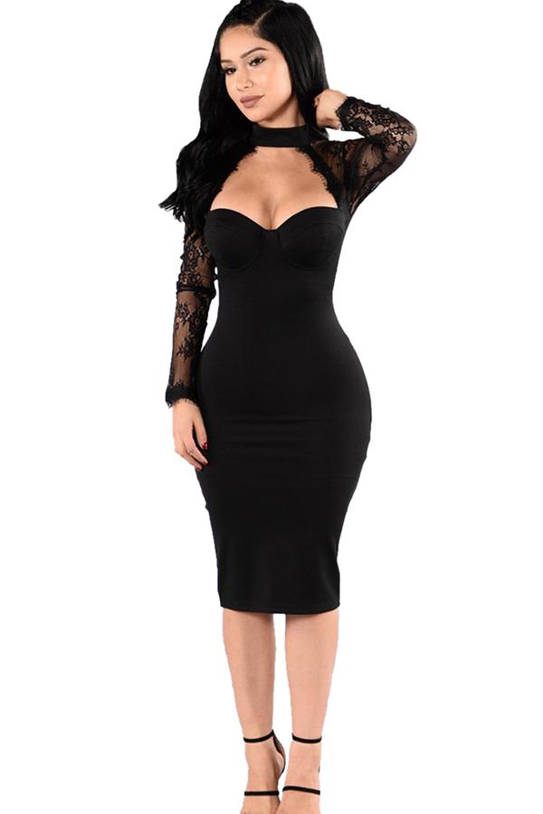 black long sleeve long evening dress photo - 1
