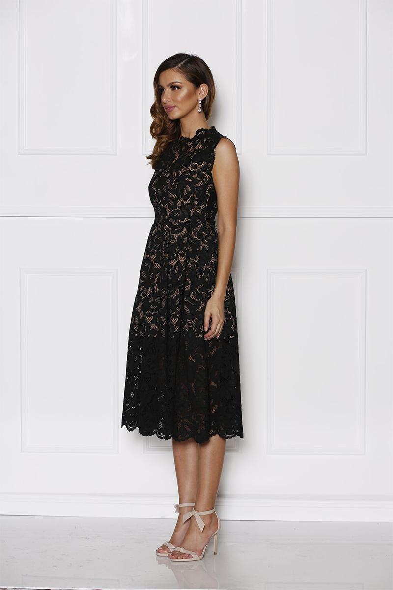 black midi evening dress photo - 1