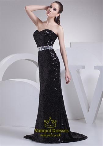 black sequin evening dress photo - 1