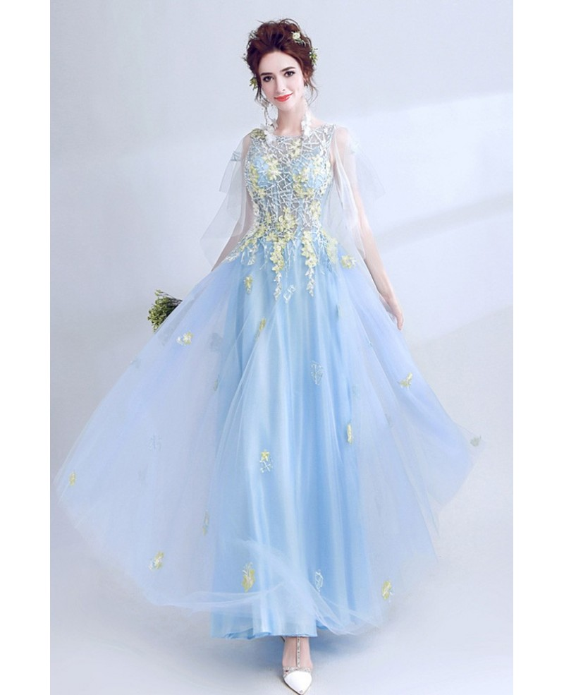 blue evening dresses with sleeves photo - 1