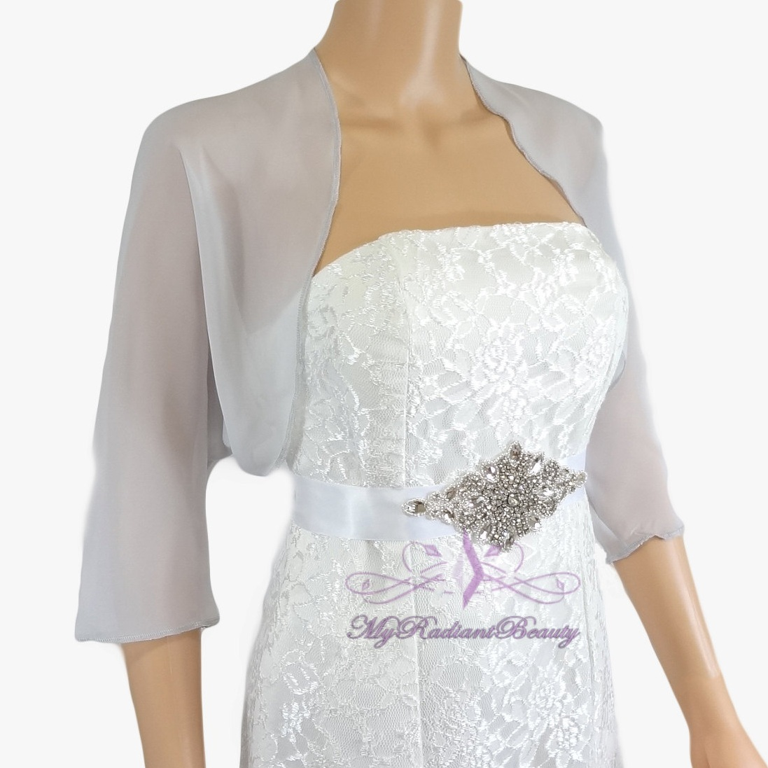 chiffon bolero jackets for evening dresses photo - 1