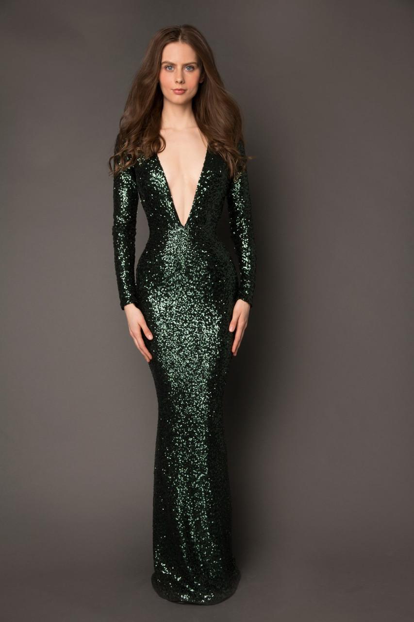 dark green evening dresses photo - 1