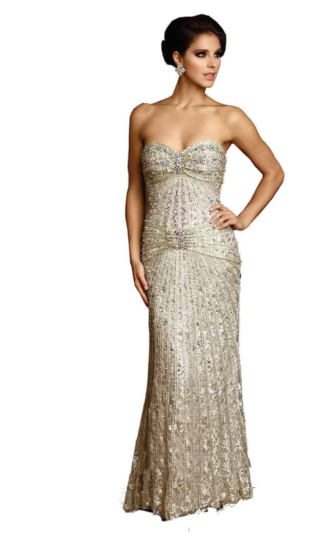 elegant evening dresses with sleeves photo - 1