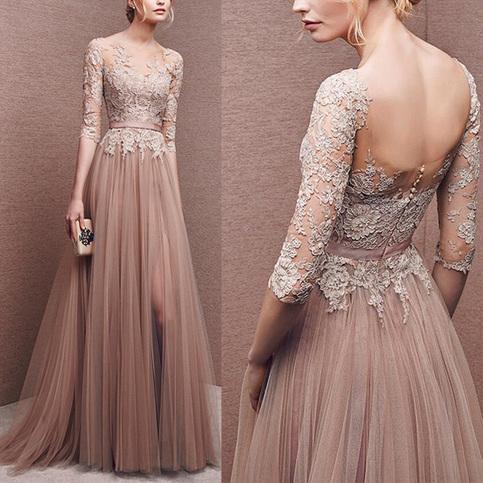 elegant lace prom dresses photo - 1