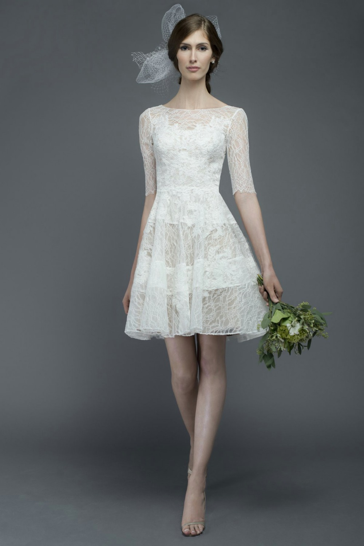 elegant short dresses for a wedding photo - 1